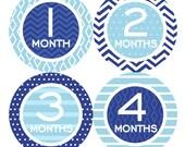 Baby Month Stickers FREE Baby Monthly Sticker Baby Month Milestone Stickers Baby Boy Bodysuit Sticker Baby Photo Prop Chevron Blues 118B