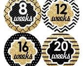 12 Pregnancy Belly Stickers Weekly Sticker Baby Bump Sticker Maternity Photo Prop Tummy Sticker Shower Gift Chevron Gold Black (105P)