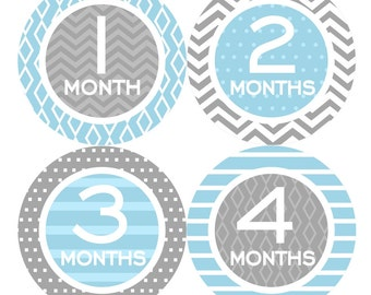 Baby Month Milestone Stickers FREE Baby Month Sticker Baby Monthly Stickers Baby Boy Bodysuit Stickers Photo Props Chevron Blue Grey 068B