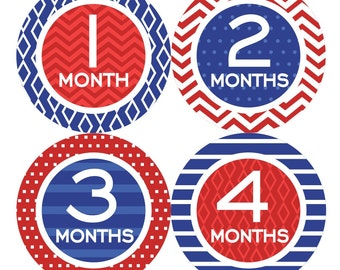 Baby Month Milestone Stickers FREE Baby Month Sticker Baby Monthly Stickers Baby Boy Bodysuit Stickers Baby Gifts Chevron Blue Red 073B