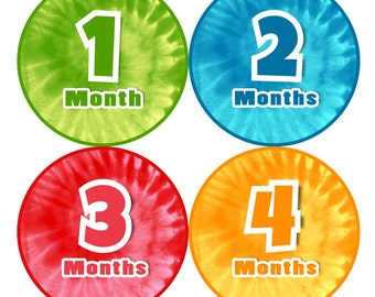 Baby Month Milestone FREE Month Baby Sticker Baby Month Milestone Stickers Baby Boy Bodysuit Stickers Photo Props Tie Dye Colored 109B