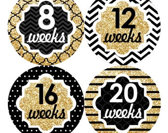 12 Pregnancy Belly Stickers Weekly Sticker Baby Bump Sticker Maternity Photo Prop Tummy Sticker Shower Gift Chevron Gold Black (105P)