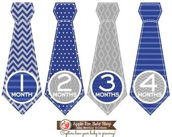 SALE Monthly Baby Tie Stickers Baby Boy Monthly Bodysuit Sticker Baby Month Milestone Sticker Baby Gift  Chevron Blue Grey White 071T