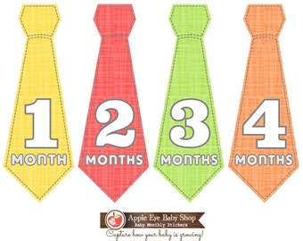 Monthly Baby Tie Stickers FREE Baby Month Milestone Sticker, Baby Boy Bodysuit Sticker, Baby Monthly Stickers, Red Yellow Green Orange 019T