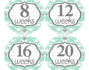 12 Pregnancy Belly Stickers Weekly Sticker Baby Bump Sticker Maternity Photo Prop Tummy Sticker Shower Gift Damask Mint Grey 075P