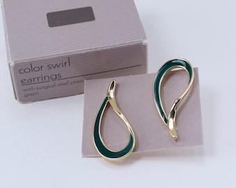 SALE 10 PERCENT Off Vintage 1986 Signed Avon Color Swirl Gold Tone Dark Green Enamel Paisely Loop Hoop Pierced Earrings Original Box NIB