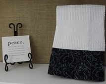 Kitchey Black White Towel, White Swirl Hand Towel for Kitchen, Baking Towel, Cooking Towel, Home Decor, Cottage Chic Towel