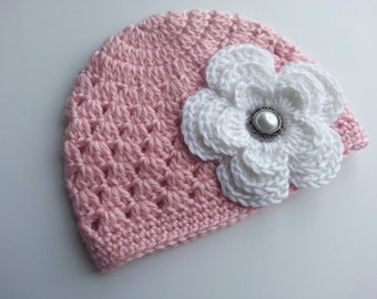 Crochet Baby Hat With a Flower-Beanie, Baby Newborn Hat, Baby Girl Beanie-photo prop