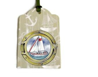 Sailboat / Porthole Gift Tags... Set of 4