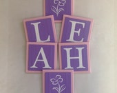 Purple Pink Names Sign, Wall Letters Room Decor, 6x6 Personalized Wooden Plaques Sample Flowers Painted Lilac Custom Baby Girl Gifts