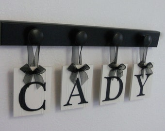 Baby Girl Room Decorations Hanging Wood Plaque CADY Includes 4 Pegs Hangers Painted Black. Baby Name Art Nursery Decor