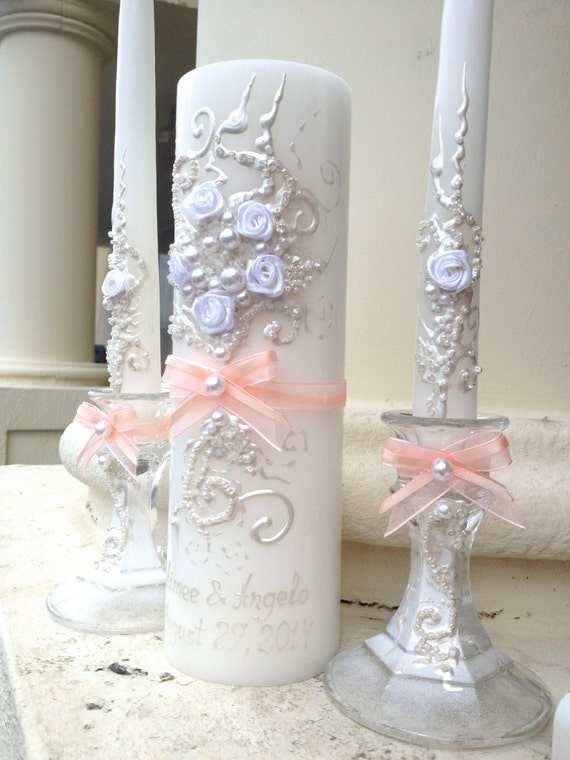 Beautiful Wedding Unity Candle Set In White With By PureBeautyArt
