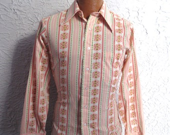 60's Vintage Men's Mod Hippie Party Shirt small