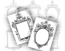 Black and White Gift Card Digital Collage Sheet for DIY Printable Swing Tags Price Labels Jewelry Holder Antique Cartouches 618