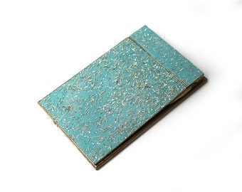 Vintage mid century teal and gold resin notepad score pad, notepad cover, notepad case