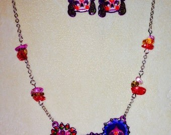 Day Of The Dead Necklace And Earrings Set