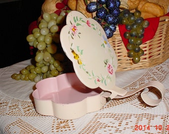 Vintage Plymouth Tole Crumb Catcher - 1950's Pink Hand Painted Silent Butler Tray