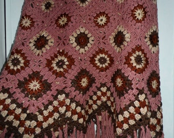 Crochet 1960-s hippie style bohemian old rose cream brown rusk granny square puff stitch flowers XL skirt with fringe Ready to ship OOAK