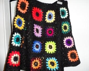 Crochet 1970-s hippie gipsy bohemian boho festival granny square multicolor flowers black skirt S/M
