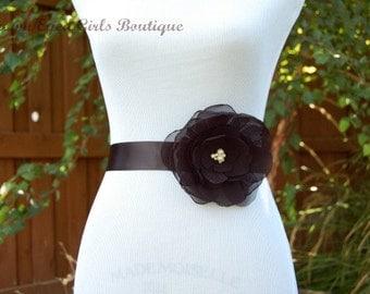 Black Chiffon Flower Bridal Sash, Black Bridal Belt, Black Wedding Belt