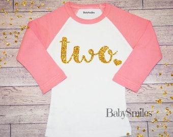 Second Birthday Shirt Gold Birthday Shirt Two Birthday Baby Girl Birthday Two Girl Birthday Shirt Girl Gold Glitter Birthday Shirt 120
