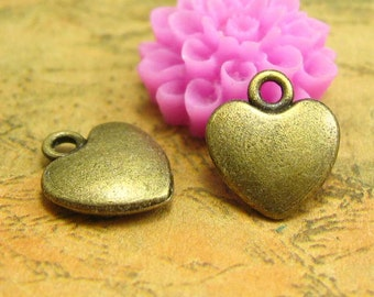 50 pcs Antique Bronze Heart Charms Double Sided 12x10mm CH2130