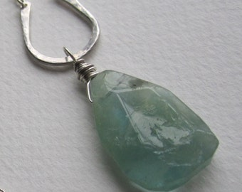 Rough Cut Aquamarine  Hand Forged Sterling Long Necklace