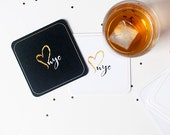CITY LOVE NYC black and white faux gold coaster set 10 pack