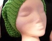 Sale! 5 Dollar Light Green Puff Stitch Hand Crocheted Slouch Beanine