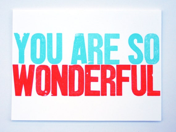 Items Similar To You Are So Wonderful Letterpress Card On Etsy