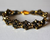 Swarovski Bracelet, Aurum Gold, Black Pearls, bronze, Gift, Crystal, Feminine Bracelet,  Queen's Lace BT2280 Amy Johnson Designs