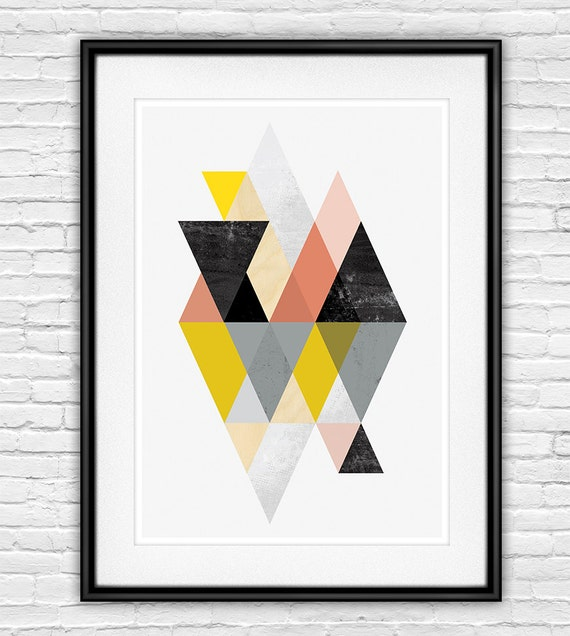 abstract print geometric art scandinavian print abstract. Black Bedroom Furniture Sets. Home Design Ideas
