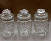 Vintage Set Of 3 LIDDED APOTHOCARY JARS.. 8 Ounce.. Quilted Pattern Glass (Lot #2)