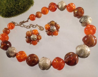 Lisner Tangerine Beaded Necklace and Earring Set