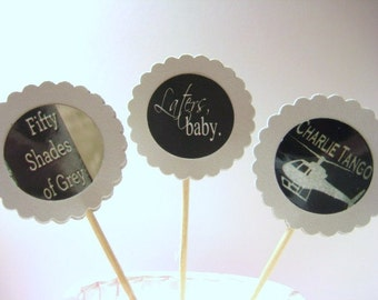 15 - Fifty / 50 Shades of Grey Party Picks - Cupcake Toppers - Toothpicks - Food Picks - FP509