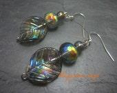 Rainbow Leaf Earrings Aurora Borealis Glass Beaded Earring Smokey Glass Leaves