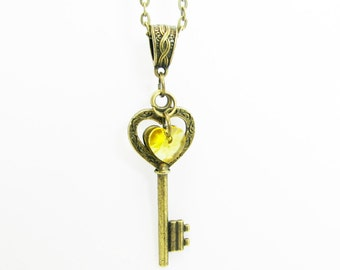 Heart Key Charm Necklace Swarovski Crystal Heart Key To My Heart  You Choose Heart Color