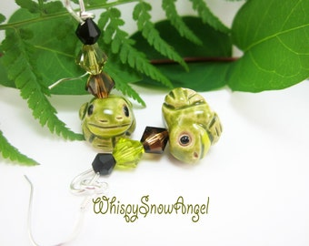 Frog Earrings Ceramic Bead Hand Painted Sterling Silver Swarovski Bicone Elements