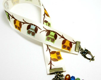Owl Ribbon Bookmark, Bird Family, Picasso Czech Rondelles, Yellow, Green, Blue