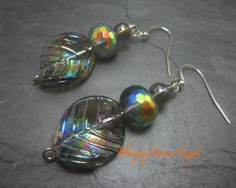 Rainbow Leaf Earrings Aurora Borealis Glass Beaded Earring Smokey Glass Leaves 316
