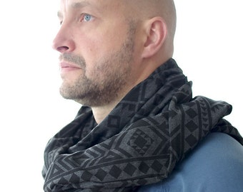 Huge infinity scarf, shrug, shawl, cowl and hood in one piece, gray and black men scarf, geometric