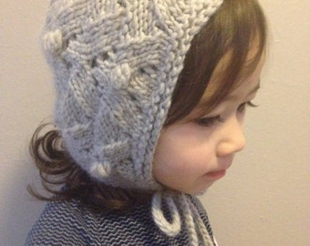 Kids Bonnet - Organic Hand Knit Hat - Taupe Gray - Children - Child - Baby Girl Hat - Eco Friendly - Ready to Ship