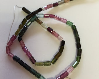 Tourmaline Faceted Tubes-6x4mm