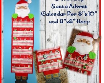 In The Hoop Advent Countdown Santa Calendar Embroidery Machine Design Set
