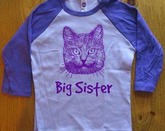 Big Sister Cat Kids Shirt - Girls Cats Tee - Blue or Purple - 3/4 Sleeved - Gift Friendly