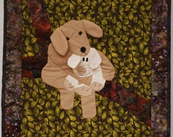 cuddling dogs quilted applique wall hanging