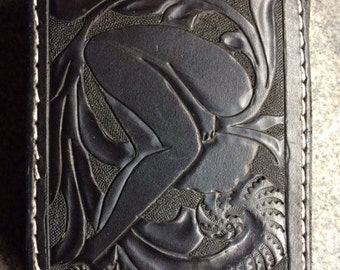 Handtooled Bifold BlackWallet with Western Floral and Lady