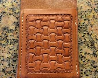 Handtooled Moneyclip Wallet Brown Montana Basketweave Design