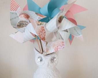 Welcome Baby Shower, Baby Shower Decorations, Gender Neutral Baby Shower pastel baby shower 6 Large Pinwheels  (Custom orders welcomed)