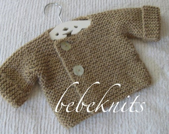 French Style Baby Cardigan in Soft Camel Alpaca Blend